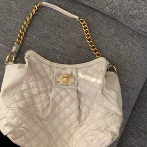 Authentic Marc Jacobs cream color quilted hobo bag